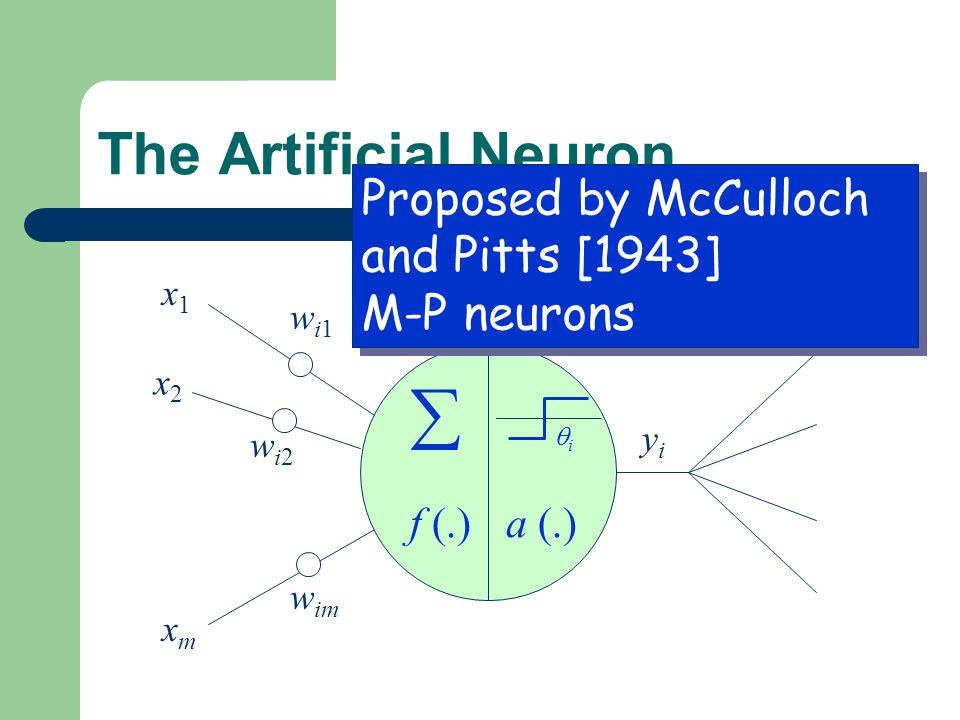  The Artificial Neuron Proposed by McCulloch and Pitts [1943]